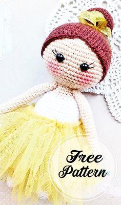 Free and Sweet Ballerina Amigurumi Crochet Pattern , amigurumi patterns free; amigurumi for beginners; Doll Amigurumi Free Pattern, Crochet Dolls Free Patterns, Crochet Amigurumi Free Patterns, Crochet Toys, Mini Amigurumi, Amigurumi Doll, Crochet Unique, Ballerina Doll, Crochet Projects