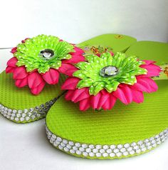Cute neon green childrens blinged flip flops with by BeadingByJenn, $21.00