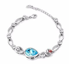 This is gorgeous rhodium plated bracelet for women and it has a good quality. This bracelet studded with blue color stone and red and white silver color stones and these are very shiny. It is a light weight bracelet and it is perfect for every women. This bracelet design is very fashionable and it is perfect to give the gift.