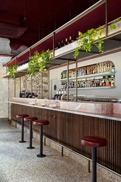 Pink marble and patchy concrete emulate ancient Rome in Melbourne's Pentolina pasta bar - Dr Wong - Emporium of Tings. Australian Interior Design, Interior Design Awards, Restaurant Interior Design, Architecture Restaurant, Hotel Restaurant, Roman Architecture, Modern Restaurant, Pasta Bar, Bar Counter Design