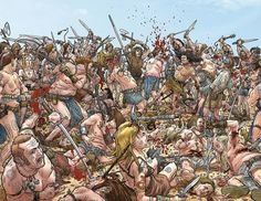 Original and final wraparound cover art by Geof Darrow (with colors by Peter Doherty) from Conan the Cimmerian published by Dark Horse Comics, November Comic Book Artists, Comic Artist, Comic Books Art, Jean Giraud, Geof Darrow, Bd Art, Bristol Board, Conan The Barbarian, Comic Panels