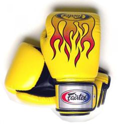 Genuine New Fairtex Boxing Gloves with Flame Print Design Fancy Gloves