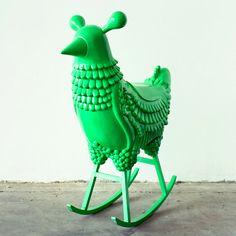 Funky Chicken Neon Green Rocking Bird