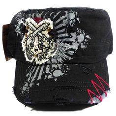 Black and Gray Crossed Pistols Destructed Rhinestone Cadet Cap Hat
