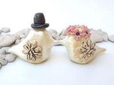 Wooden wedding cake topper love birds