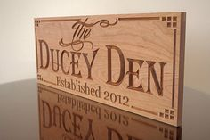 Man Cave Sign: Custom Wood Signs Carved Wooden Signs Anniverary Gift Den Sign Marriage Gift  Family Name Sign Cherry 9x23 LL