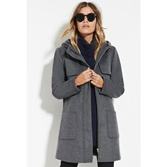 Forever 21 Women's  Hooded Wool-Blend Coat ($44) ❤ liked on Polyvore featuring outerwear, coats, full length coat, forever 21 coat, forever 21, wool blend coat and hooded coat