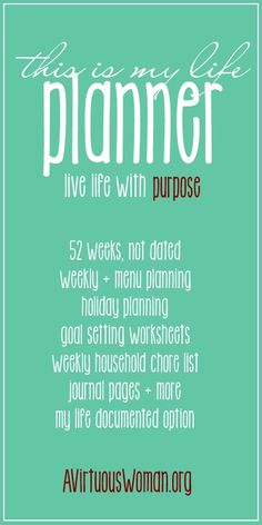 "Really, this is the ultimate planner for moms! ""This is My Life"" Planner - 52 Weeks, Not Dated, Weekly + Menu Planning, Holiday Planning, Goal Setting Worksheets, PLUS My Life Documented {Project Life option, Grocery Planning, and so much more!"