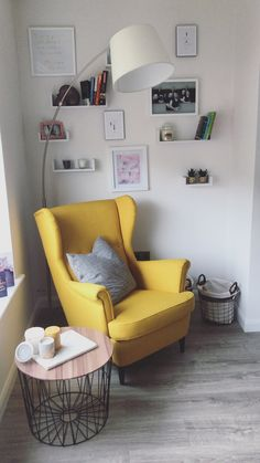 Mustard yellow chair - Ikea DIY - The best IKEA hacks all in one place Home Living Room, Apartment Living, Living Room Designs, Living Room Decor, Bedroom Decor, Strandmon Ikea, Yellow Accent Chairs, Ikea Yellow Chair, Aesthetic Room Decor