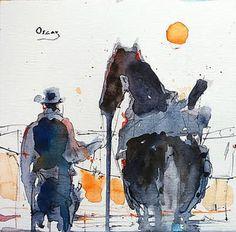 "watercolor...19 x 19 cm. Saatchi Art Artist OSCAR ALVAREZ; Painting, ""VAQUERO 7"" #art"