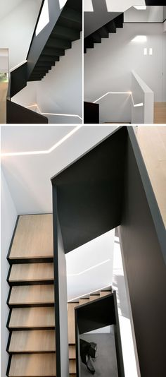 These modern black and wood stairs feature a built-in strip of hidden lighting running along side them on the wall.