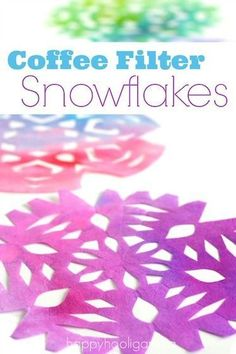Gorgeous Coloured Coffee Filter Snowflakes is part of Kids Crafts Winter Coffee Filters - Brighten up a dull winter day with some coloured coffee filter snowflakes The process is so fun and easy Kids of all ages will want to get in on these Winter Art Projects, Easy Art Projects, Winter Crafts For Kids, Winter Kids, Projects For Kids, Art For Kids, Preschool Winter, Art Children, Preschool Crafts