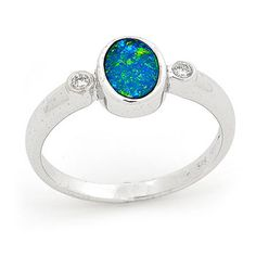 regular ring size US 7 (UK N1/2), 1 stone 7mm x 5mm Oval White Gold - Light Opal Doublet #opals #opalsau #opalsaustralia