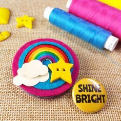 Rainbow Brooch with Gift Box and Badge