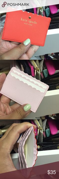 Kate spade cool card case 2 color - orange and pink on the other side. Never used. kate spade Accessories Key & Card Holders
