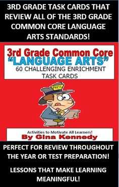 3RD GRADE LANGUAGE ARTS REVIEW COMMON CORE TASK CARDS! A REVIEW OF THE ENTIRE YEAR'S WORTH OF LANGUAGE ARTS STANDARDS!  A must have for every 3rd grade language arts class. A set of 60 task cards to provide your students with additional practice on all of the language arts standards. This would be an excellent way to review throughout the year at a center or to use to prepare for the state exam.