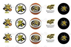 Wichita State University Shockers Basketball Bottle Cap Images - Instant Download  $1.55  #BottleCapsByEli