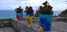 Diy Planter Box, Diy Planters, Cool Diy, Basic Colors, Vibrant Colors, Dry Well, Greek Islands, Flower Pots, Planting Flowers