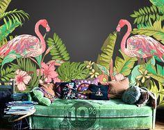 Tropische Flamingo Peel & Stick Wallpaper Hawaii Plant Forest verwisselbare muur muurschildering zomer vakantie muur Sticker bomen laat groene natuur