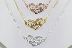 Heart NecklaceCZSterling Silver Rose Gold by ornatetreasures - $36.00