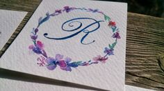 R lettering  calligraphy watercolor flowers