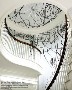 Dramatic black and white graffiti inspired entrance, designed by Anthony Baratta, hand painted by Otto Zitko, via @sarahsarna.