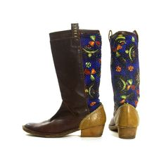 cc715c403ddc Leather Riding Boots Vintage 90s Brown Leather   Embroidered Cotton Kantha  Quilt Fabric Low Heel Campus Boots Women s Size 8.5