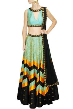 Mint, orange and black sequins embroidered lehenga set available only at Pernia's Pop Up Shop.