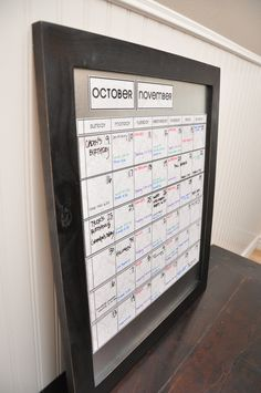 Large Dry/Wet Erase Magnetic Calendar with 6 Weeks Showing at all times.  Vintage White Calendar Kit with Black Frame.
