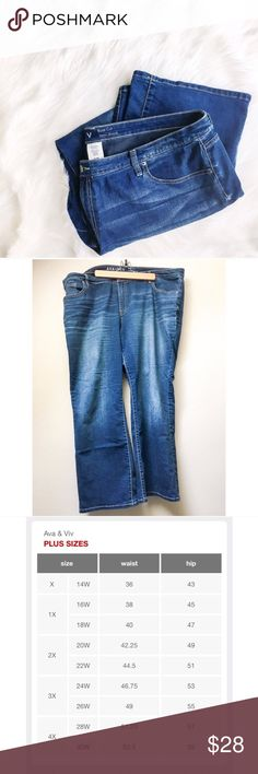Plus // Ava & Viv Bootcut Jeans Ava & Viv is Target's high-quality plus size line. This pair of jeans is a dark-washed bootcut style and is in very good pre-loved condition. No evident flaws from wear.  ✅Bundle & Save 🚫Trades 🚫Off-Posh 🚫Modeling  💞Shop with ease; I'm a Posh Ambassador.💞 Ava & Viv Jeans