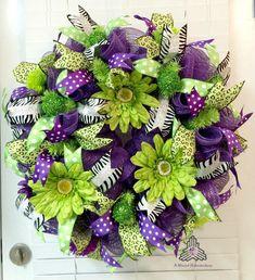 Purple Lime Flower Floral Spring Summer Loop & Curl Deco Mesh Wreath