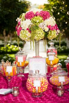 Gorgeous wedding sweets table http://www.prettymyparty.com/pink-orange-sweets-table/