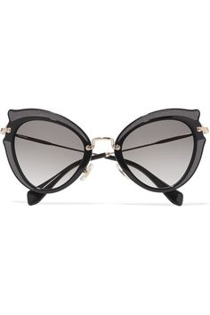 5ef30d798ae6 Miu Miu - Embellished Cat-eye Acetate And Gold-tone Sunglasses - Black
