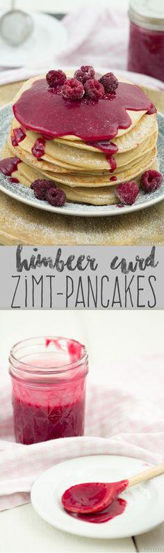Zimt-Pancakes mit Himbeercurd. Curd aus Himbeeren auf Pfannkuchen mit Zimt.