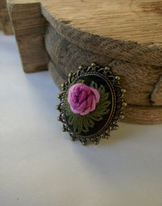 Hand embroidered brooch with rose (color III) by ZoZulkaart on Etsy