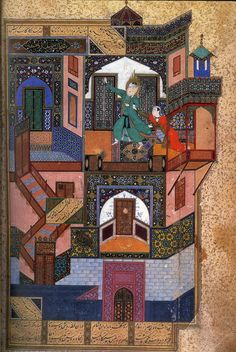 Fig: 112 - Bihzad - The Seduction of Yusuf from Sadi's Bustan. Made in 1488 for Sultan Husayn Mirza at Herat. An illustration full of representation and metaphor telling mystical poem written by Jami. Ink and color on paper. Lives currently at the National Library in Cairo. pg. 214
