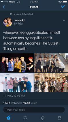Jungkook situates himself between two hyungs