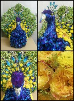 Peacock made of flowers by Flower Palette.