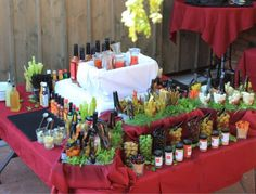 A bloody mary bar set up