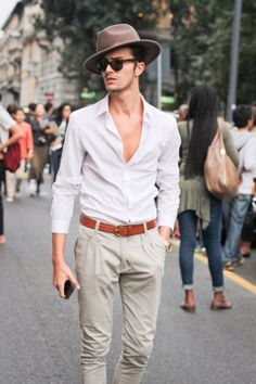 http://chicerman.com  completewealthmag:  Complete Wealth Mag  Filed under: Fedoras Woven Belts Street style  #summerlook