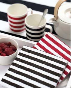 Tasaraita Luncheon Napkins by Annika Rimala Christmas Feeling, Scandinavian Living, Marimekko, Printing On Fabric, Red And White, Napkins, Table Settings, Stripes, House Design