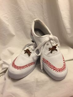 Baseball Themed Hand Painted Canvas Shoes by EdesAttic on Etsy