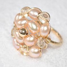 PEARL and CITRINE Wire Wrapped Ring 14k Gold Filled NYC handmade SIZE 6.25 #Handmade #Wrap