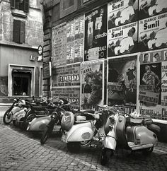 """July 1955. La Dolce Vespa """"Rome, Italy. Coverage focuses primarily on people, places and historical monuments."""" From photos by Philip Harrington for the Look magazine article """"Can Catholics Separate Church and State?"""""""