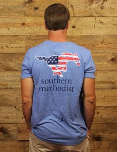 Show your Southern Methodist pride in this great American Pride t-shirt! Go Mustangs!