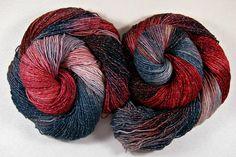 Tribal Hand-dyed Superwash Merino/Lurex Yarn by yarnwench on Etsy