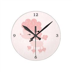 Cute Pink Cartoon French Poodle Round Clock