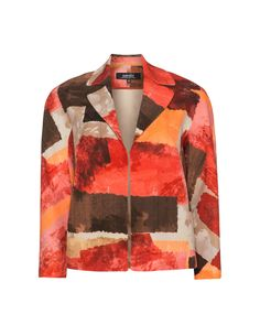 navabi Printed cropped jacket in Brown / Red