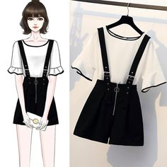 outfits with shorts Women Summer Bow V-neck Batwing Short Sleeve Loose Casual Blouse + Tunic High Waist Lacing Wide Leg Pants Two Piece Set Teen Fashion Outfits, Cute Fashion, Asian Fashion, Girl Fashion, Fashion Drawing Dresses, Fashion Illustration Dresses, Fashion Dresses, Mode Ulzzang, Dress Sketches