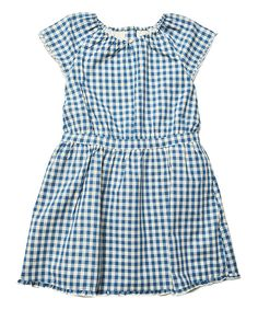 Look at this Prussian Blue Gingham Pia Dress - Toddler